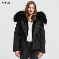 JKKFURS 2019 Detachable Black Parker Jacket Genuine Raccoon Collar Trim Winter Parka Warm Fur Lined Hooded Coat B1722