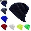 2016 Nuevos Sombreros de Invierno Sombrero Femenino Unisex Llanura Sólido Caliente suave de Las Mujeres Skullies Gorros de Punto Touca Gorro Tapas de Los Hombres mujeres