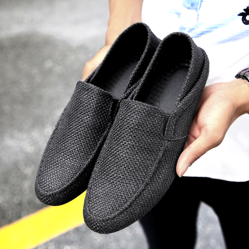 Hemmyi 2017 new mens casual shoes Non leather hemp loafers men flat doug shoes light and