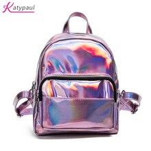 Femininas Bolsas де Marcas famosas 2017 большие и маленькие Для женщин рюкзак для девочек школьная сумка женская из искусственной кожи голографическая Сумки розовый Kanken