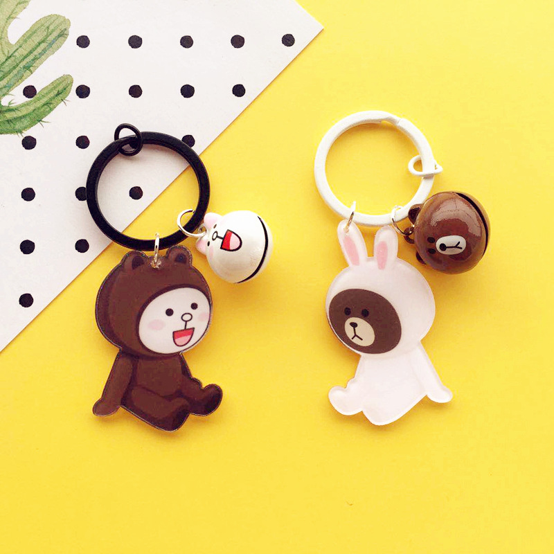Cute Acrylic Bear Bunny Keychain Fashion Bell Car Keyring Pendant for Women Bag Purse Backpack Charm Accessoriess