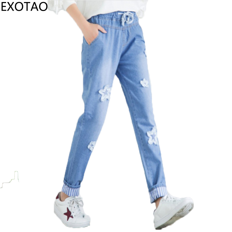 EXOTAO Washed Pockets Women Jeans Casual Embroidery Vaqueros Trousers Bandage Pantalon Mujer Autumn Cuffs Skinny Women Jeans