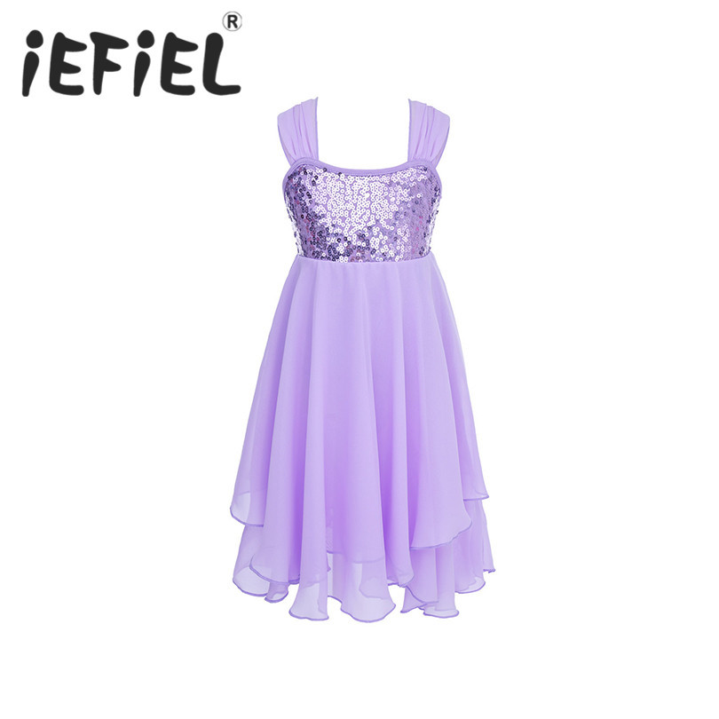 395cc7d56 iEFiEL Kids Girls Sequined Irregular Camisole Ballet Dance Dress ...