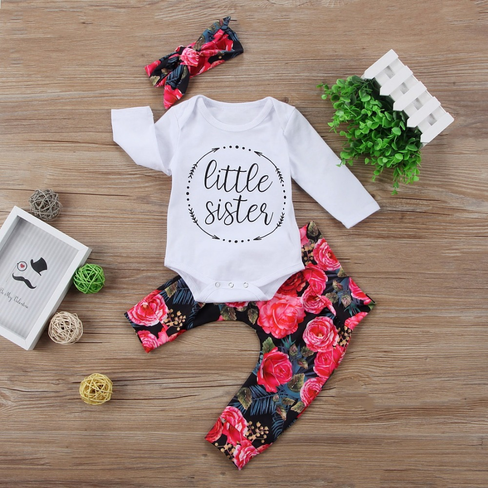 2018 Autumn Newborn Baby Girl Clothing Set Baby Girls Clothes Tops Letter Romper +Flower Pants +Bow Headband Baby boy 3pcs set autumn baby rompers brand ropa bebe autumn newborn babies infantial 0 12 m baby girls boy clothes jumpsuit romper baby clothing