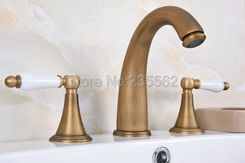 Antique Brass 3 Hole Widespread Bathroom Basin Faucet Deck Mounted Vessel Sink / Bathtub Dual Handle Mixer Taps lan083