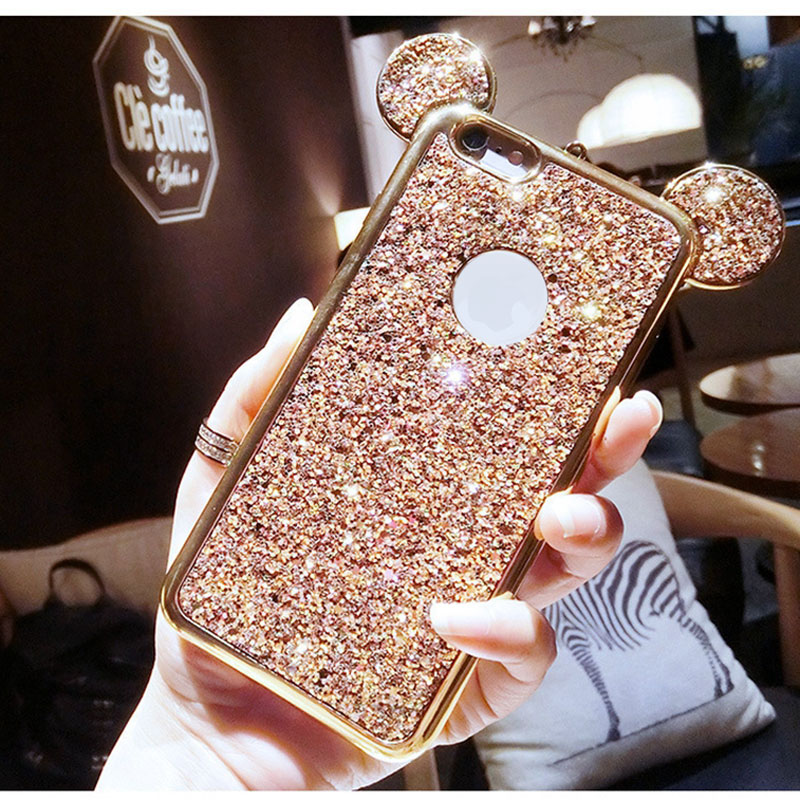 For iPhone 7 Case Rhinestone Glitter Bling 3D Mouse Ear For iPhone X 6 6S 7 8 Plus Case Cover Full Cover Protect Soft Silicone