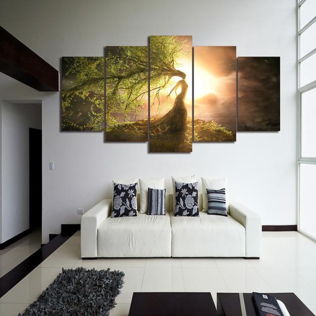 Abstract Art Beautiful Tree Girl Group Painting Sunset Landscape Wall  Canvas Pictures For Home Or Bedroom