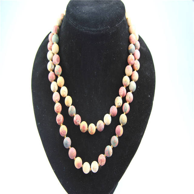 2016 hot sales 10mm matte Picasso stone beads necklace fashion hand knotted natural stone beads necklace 10mm  beads necklace