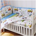 Promotion! 6pcs Baby Cot Bumper style 100% cotton embroidery super soft boy Bed linen set (bumpers+sheet+pillow cover)