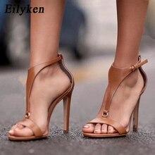 Eilyken 2019 nuevo gladiador mujeres sandalias Peep Toe zapatos de tacón  alto botón negro fino tacón Zapatos de moda marrón negr. f89aa54a1232