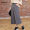 Black Grey 2016 S-XL Vintage Loose High Waisted Summer Pants Women Wide Leg Pants Casual Trousers Female