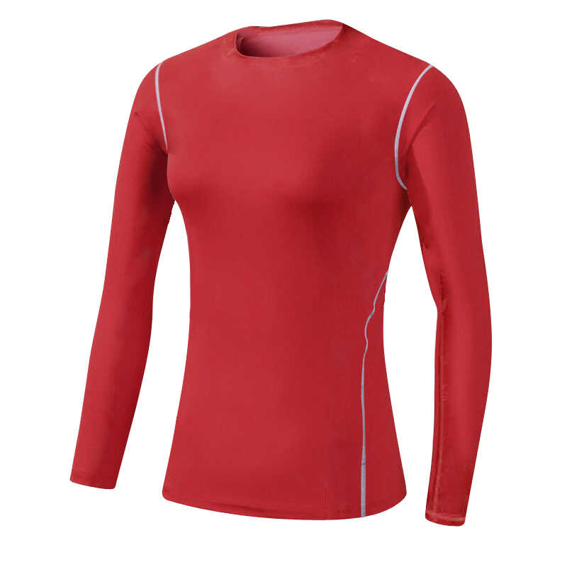 Hot Women High Quality Compression Tights Clothing Fitness Gym Top Exercise Training Sports Running Long sleeve Red Yoga Shirts