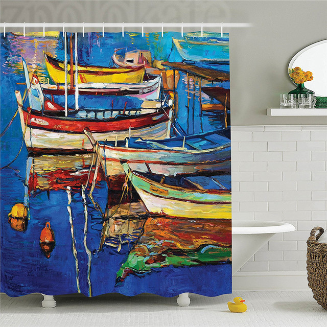 Country Decor Shower Curtain Set Mod Folk Art Style Paint Of Boats On The Shore At Golden Sunset Cruising By Sea Print Bathr