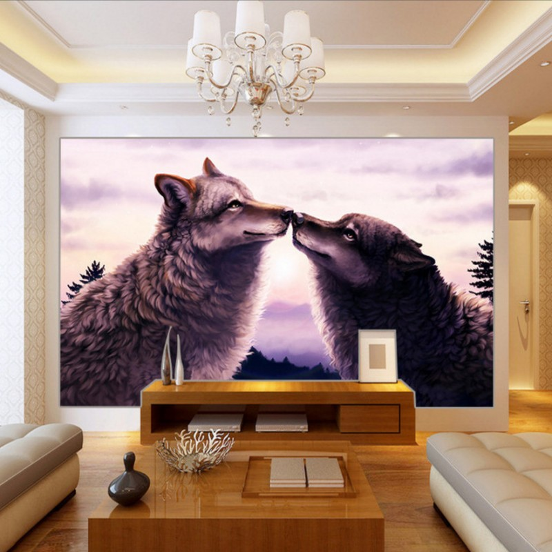 Photo wallpaper Magical Animal Wolf oil painting background wallpaper Living room decoration custom murals