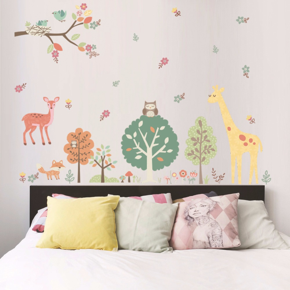 Birds's Home on Tree Branch Owls Deer Giraffe Woods Flowers Wall Sticker Kids Room Boys Girls Room Decor Wall Border Poster Art