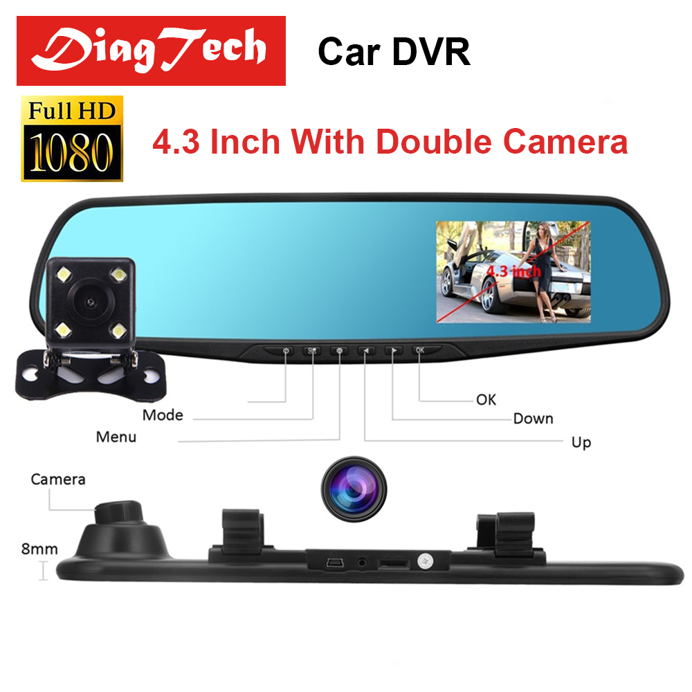 4.3'' Car Dvr Camera Auto Full HD 1080P Rearview Mirror 4.3 Inch Digital Video Recorder Dual Lens Auto Dash Cam With G-Sensor wifi dual lens 5 hd 1080p car dvr video recorder g sensor rearview mirror dash camera auto registrar rear view dvrs dash cam