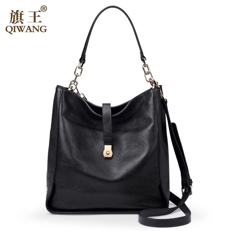 QIWANG 2017 new genuine leather women bag fashion quality head layer cowhide bucket bag Women handbags shoulder bag