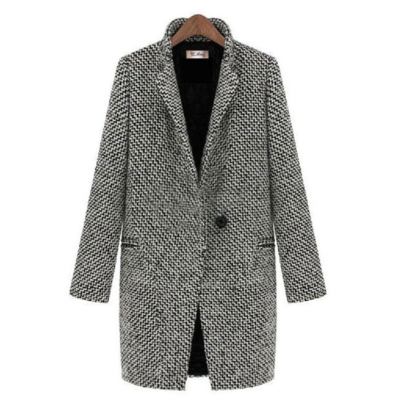 Cotton Padded Women Woolen Blends Jacket Elegant Winter Thick Turn down Collar Single Button Female Cool Punk Poacket Coat Top