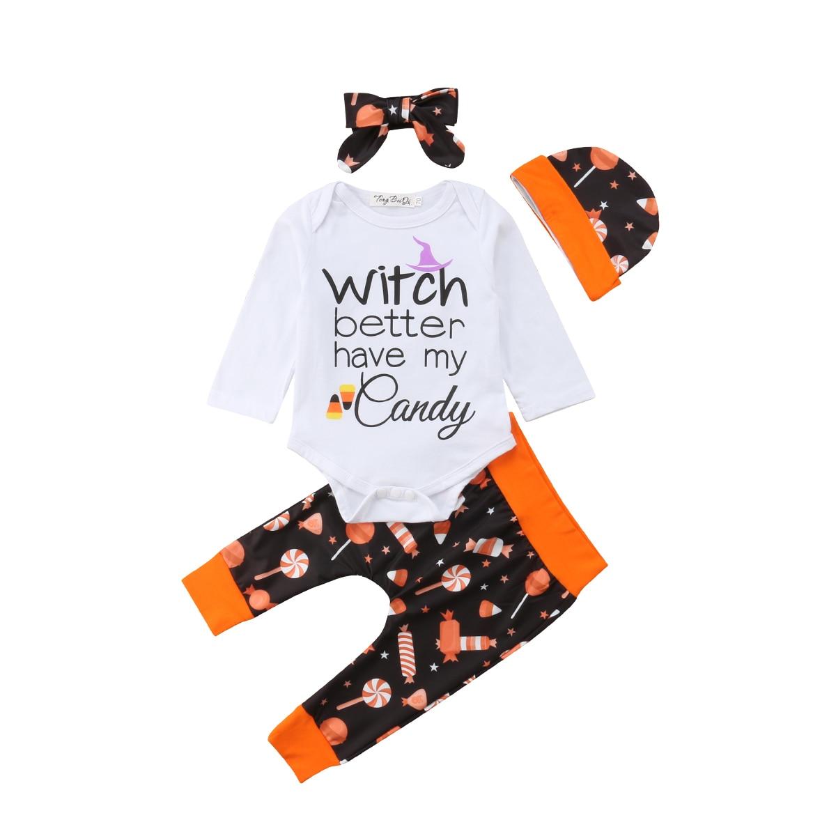 Halloween Baby Girls Boys 4PCS Set Clothes Long Sleeve Romper Jumpsuit Long Pants Hat Headband Outfit
