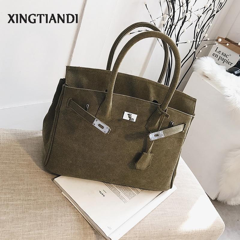 Vintage Women Army Green Canvas Handbag Large Capacity Totes Platinum Shoulder Bag Military Green Thicken Bag Package Korean Sty