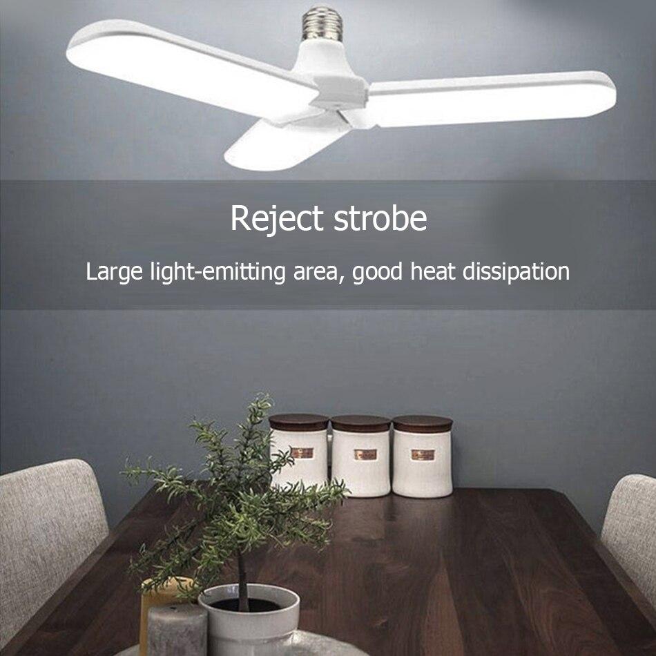 O Novo LED Luzes Pingente 60 W Dobrável Pá Do Ventilador Sem Cintilação B22 E27 Lâmpada LED 220 V 360 Graus ângulo Ajustável Lâmpada Do Teto