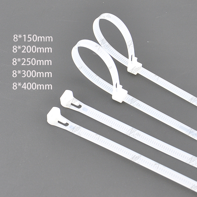 releasable Nylon Cable ties Network Plastic Cable Wire Organiser reusable Zip Tie Cord Strap white 100pcs/lot