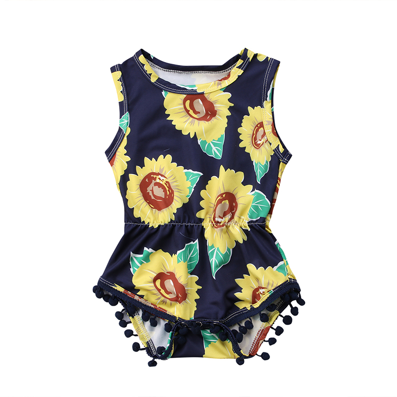 Sunflower Newborn Baby Girl Summer Clothes Sleeveless Tassel Ball Princess Kids Floral Romper Jumpsuit Outfits Sunsuit