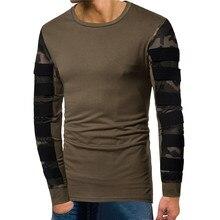 T-shirt stretch cotton camouflage mesh stitching men's round neck hollow sleeve long sleeve striped large size S-XXXLT-shirt stylish camouflage round neck long sleeve t shirt for men