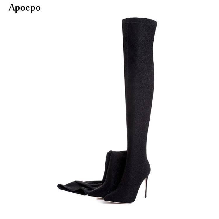 New Newest Bling Bling Glitter High Heel Boots Sexy Pointed toe Woman over the knee boots Runuway thigh high boots
