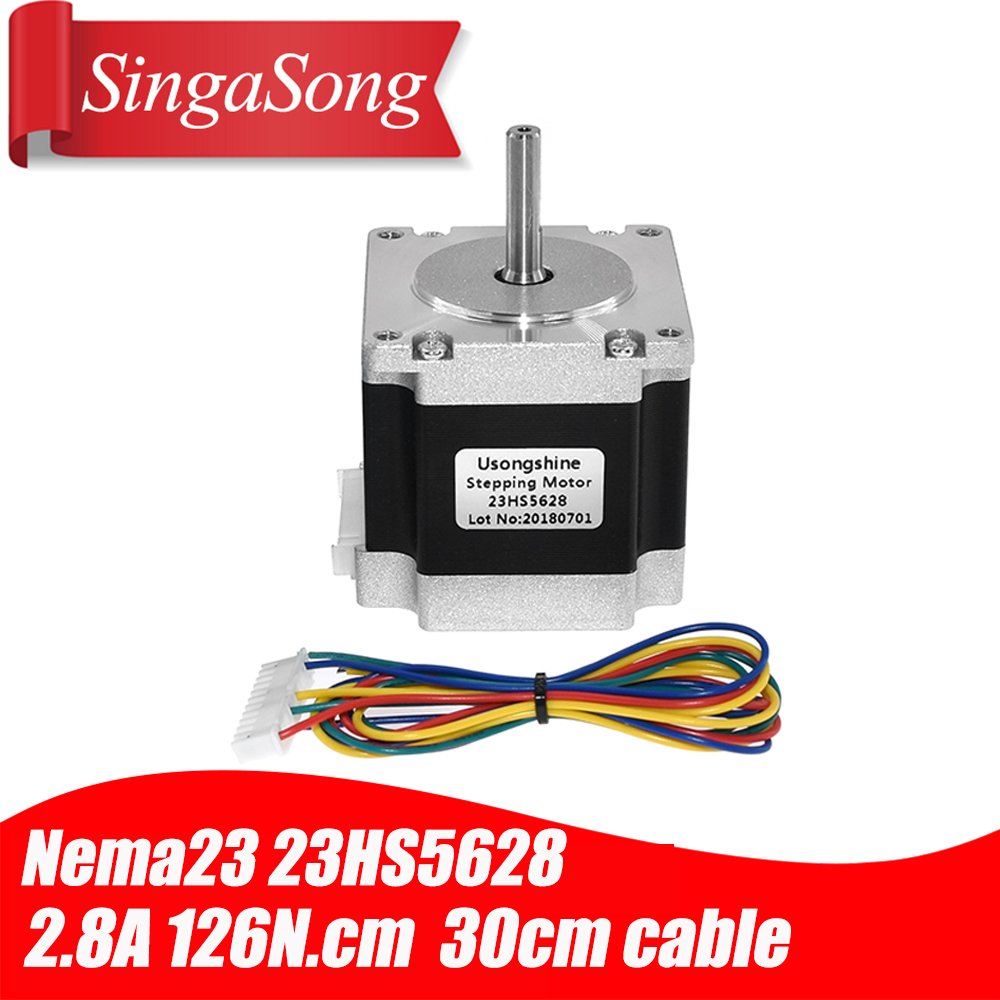 "KL23H2100-50-4BMC NEMA23 570oz//in 5A 1//4"" Dual Shaft Stepper Motor with Cable"