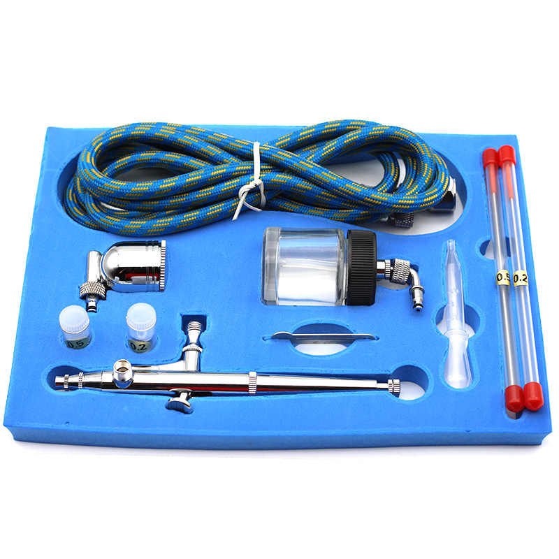 Portable Dual Action Airbrush Udara Kompresor Kit 0.2 Mm 0.3 Mm 0.5 Mm Jarum dan Nozel Kerajinan Kue Cat Seni spray Gun Set