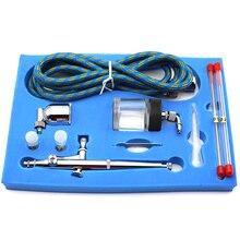 Kit de compresor de aire portátil de doble acción, agujas y boquillas de 0,2mm, 0,3mm y 0,5mm, PISTOLA DE PULVERIZACIÓN para pintura de pasteles artesanal