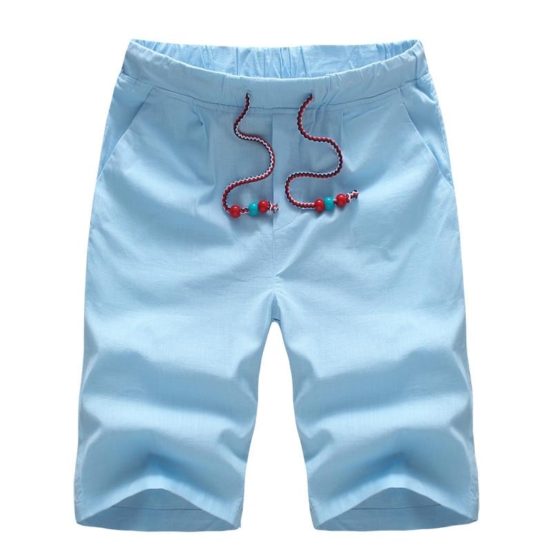 Shorts Men 2018 Summer Casual Men Shorts Fashion Linen Slim Bermuda Masculina Beach Short Trouser Knee Length Board Shorts k153