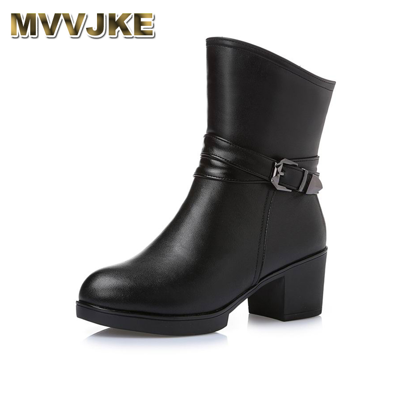 MVVJKE New Women Winter Snow Boots Mid-Calf Solid Thick High Heels Genuine Leather Shoes Women Warm Plush Boots Ladies Plus стоимость