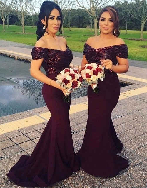 2017 Burgendy Mermaid Bridesmaid Dresses V Neck Cap Sleeve Chiffon Girl's Dress New Cap Sleeves Fashion Bridesmaids Gowns