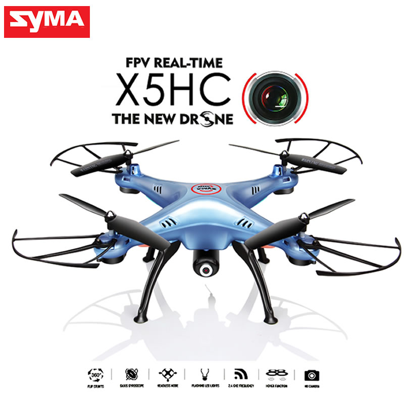SYMA X5HC (X5C Upgrade) Drone with Camera HD 2.4GHz 6 Axis 4CH RC Quadcopter RTF AUTO Hovering Headless Mode RC Dron Toys Gifts original syma x8sw wifi fpv hd camera drone 2 4g 4ch 6 axis rc quadcopter with barometer set height mode rtf toys