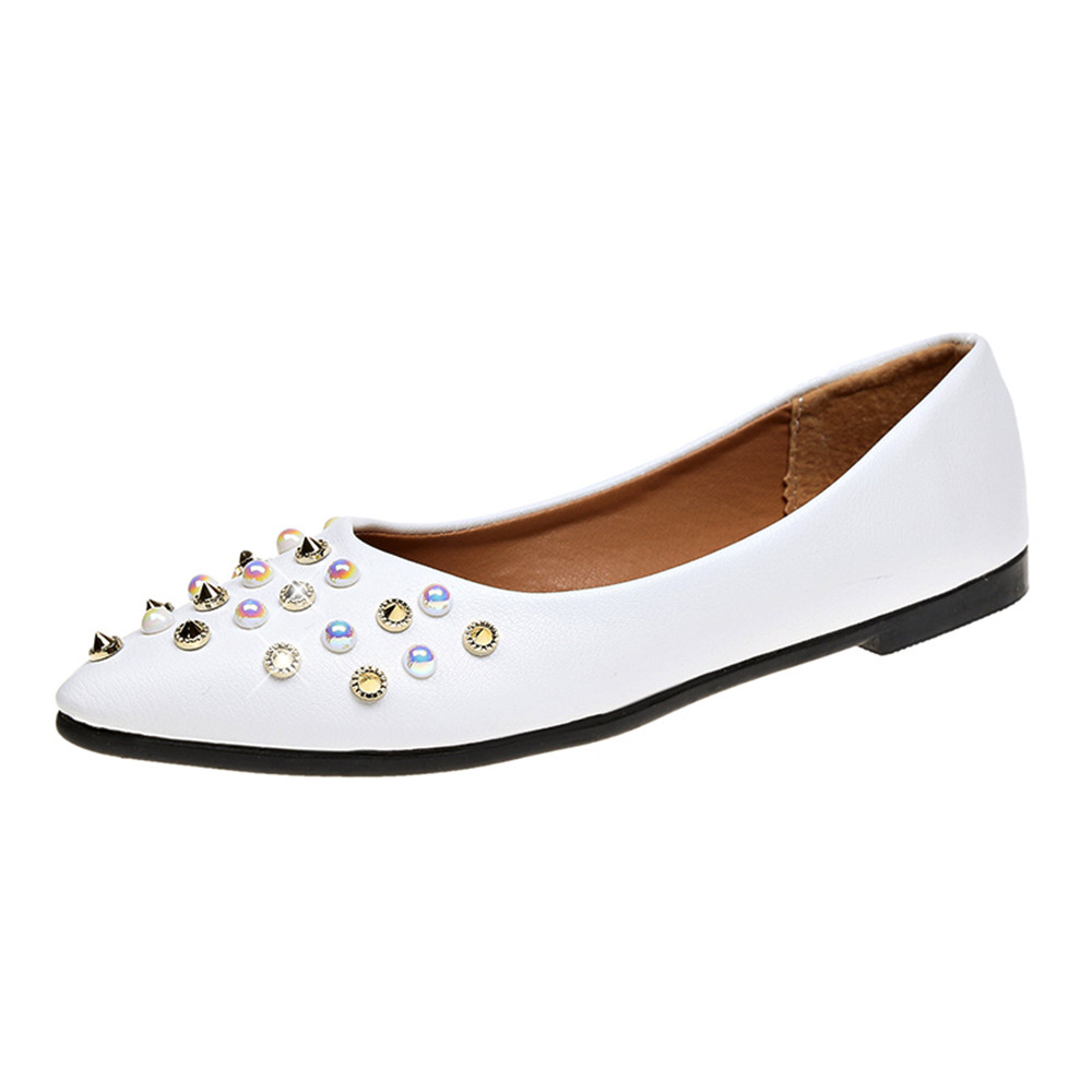 Loafers Shoes Women Flat Spring Autumn Rivet Decoration Shoes Casual Fashion Comfortable Flat Heel Casual Slip On Women Flats spring and autumn women s loafers flat shoes casual slip on flat women shoes cute bowtie shallow mouth ladies flats shoes women