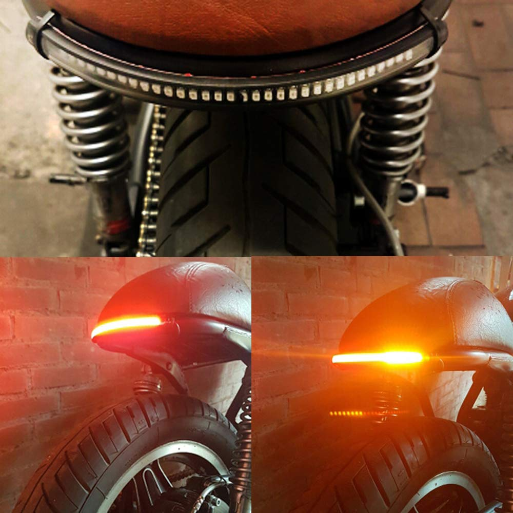 Motorcycle Light Bar Strip Tail Brake Stop Turn Signal License Plate Light Integrated 3528 SMD 48 LED Red Amber Color Tail Light