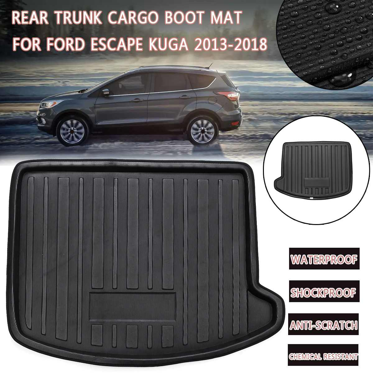 Boot Mat Rear Trunk Liner Cargo Floor Tray Carpet Mud Kick Protector Overlay For Ford Escape Kuga 2013 2014 2015 2016  2017 2018