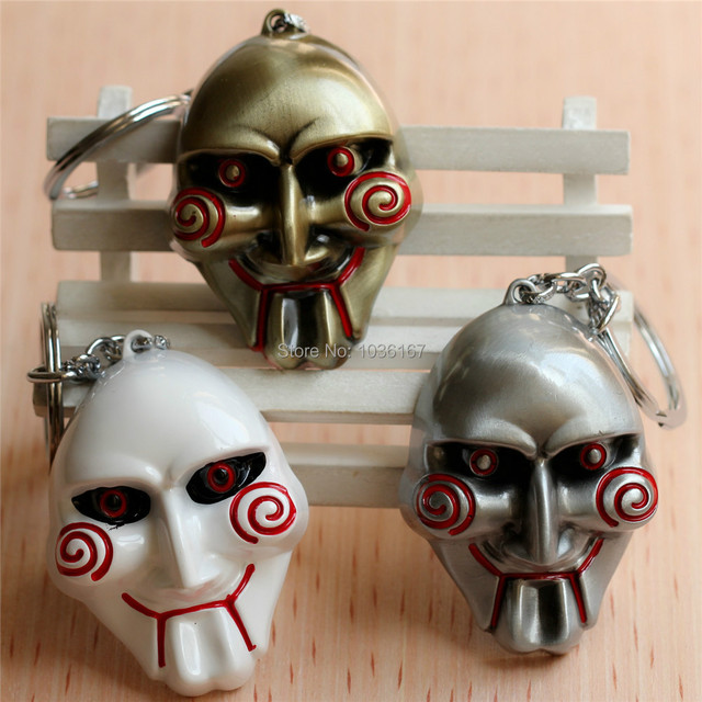 Saw Pendant Key Chains Mask Killer Keychain 3 Color Alloy Metal Key Chains Movie Jewelry 10pcs/lot High Quality