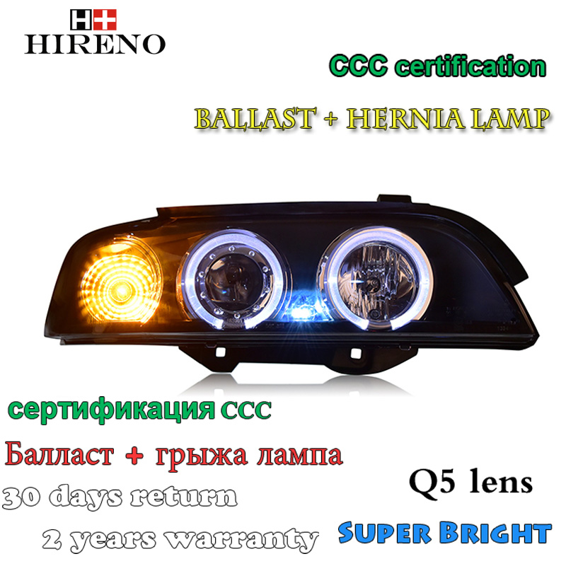 Hireno Car styling Headlamp for 1995-2003 BWM E39 Headlight Assembly LED DRL Angel Lens Double Beam HID Xenon 2pcs hireno car styling headlamp for 2007 2011 honda crv cr v headlight assembly led drl angel lens double beam hid xenon 2pcs