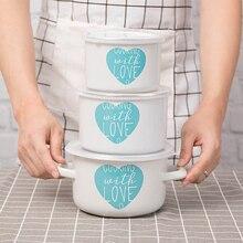 3 шт. эмалированная чаша с мультяшным буквенным принтом посуда для варки для сохранения свежести чаша холодильник ёмкость для хранения керамическая эмаль
