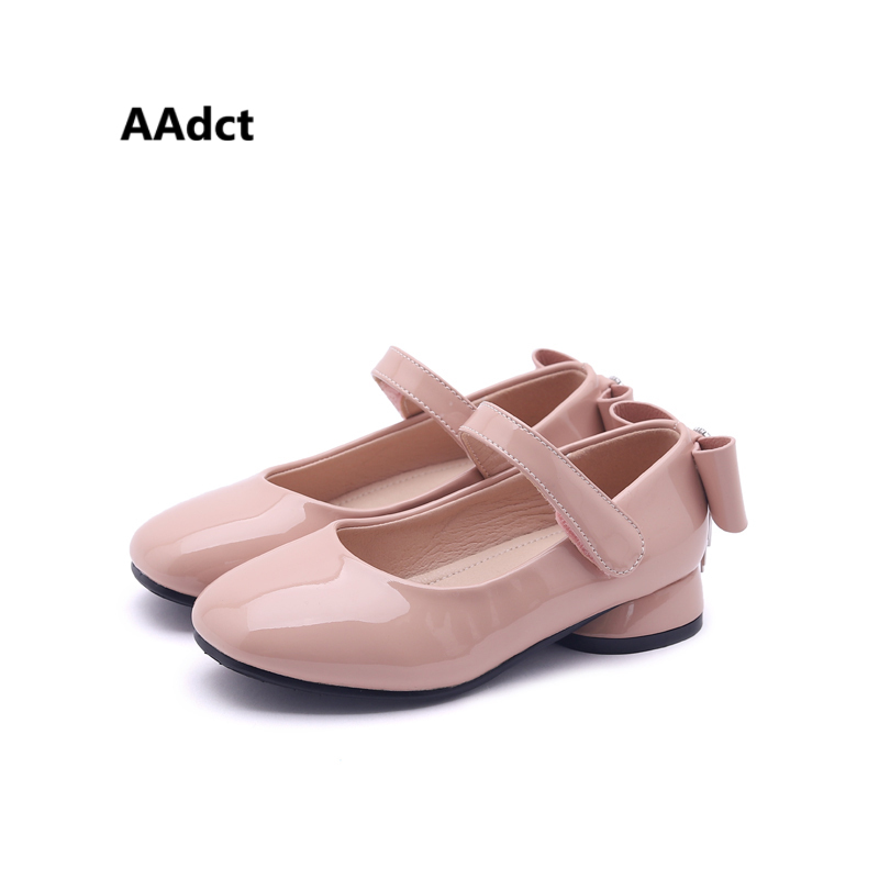 AAdct Autumn new princess girls shoes Patent leather little kids shoes for girls Bowknot soft sole children shoes Brand Party