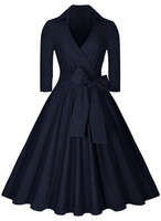 Sexy Vintage Hepburn Dress Female V Neck Solid 3 4 Sleeve Solid Ball Gown Dress Women
