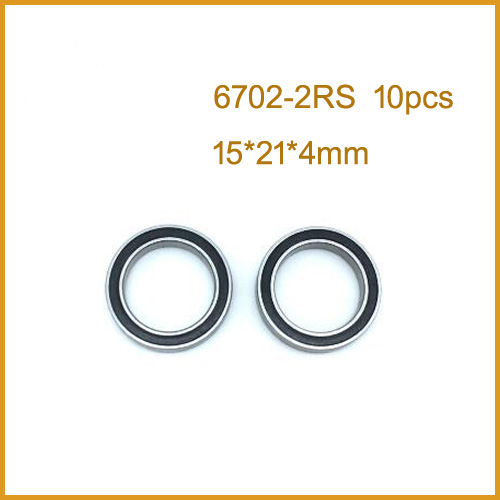 <font><b>6702RS</b></font> Bearing ABEC (10PCS) 15*21*4 mm Thin Section 6702-2RS Ball Bearings 61702 RS 6702 2RS image