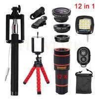 Universal Clips 12in1 12x Zoom Telephoto Lentes 3in1 Fish Eye Fisheye Lens Wide Angle Macro Lenses