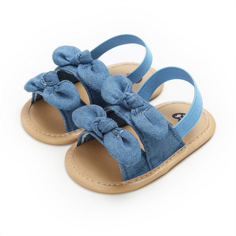 Baby Sandals Shoes Summer Toddler Plaid Breathable Princess Anti-Slip Bow Beach Shoes Children's Sandals