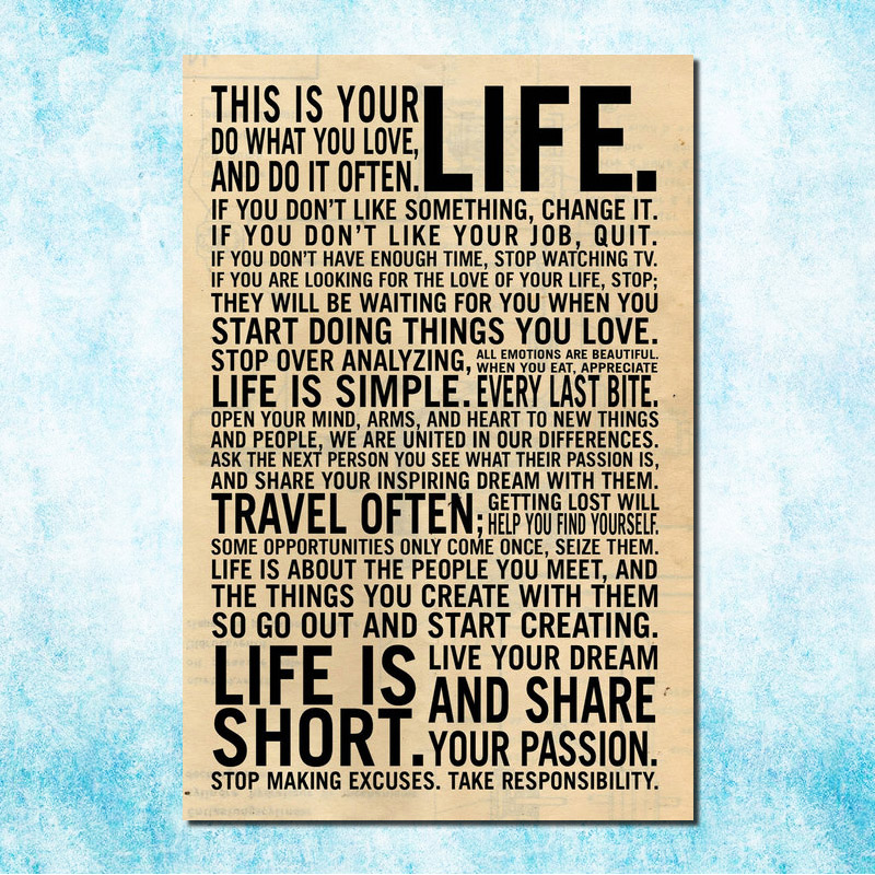 Art Silk Canvas Fabric Posters And Prints Motivational Quotes Home Office Decors