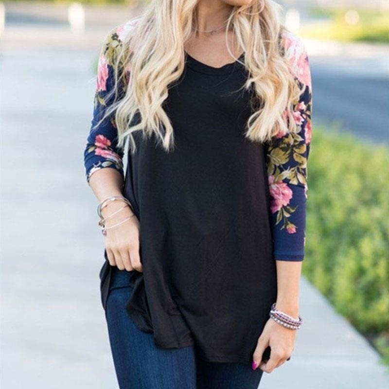 Plus Size 2017 Fashion Women Floral Splicing Sleeve T Shirt For Woman Raglan Sleeves Top Female