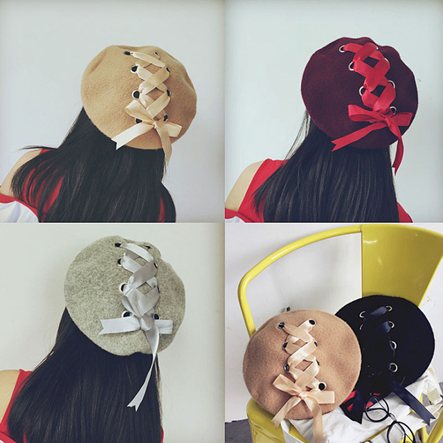 7d589582d35b9 Fashion Vintage Style Bowknot Multi Woolen Berets Ladies beanie Cap Warm  Elegant Silk Tie Ribbon Bow Beanie Hats